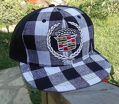 Cadillac Black Plaid Fitted Hat Baseball Cap, Licensed GM New $21.99 See Sizes