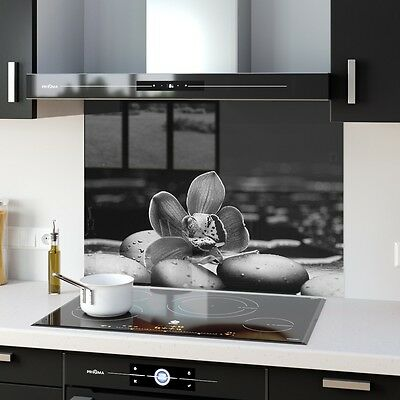 ANY SIZE  Grey B&W Toughened Safe Glass Splashback Floral Stones 117683779n-grey
