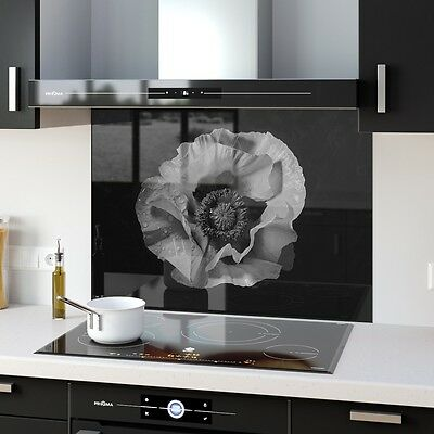 ANY SIZE Grey B&W Toughened Glass Splashback Heat Proof  Floral 104970218n-grey