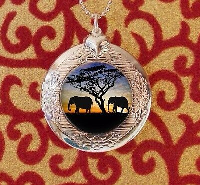 Elephant Silhouettes in the Sunset, Silver Bubble Charm Photo Locket Necklace