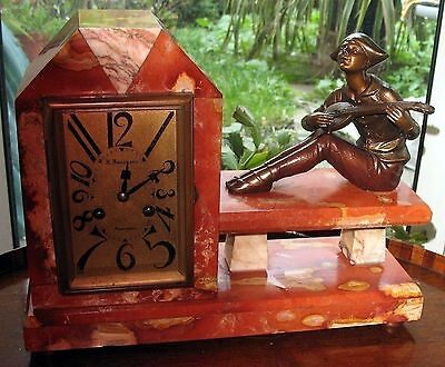 Art Deco Clocks : A good Pierrot musician 8-Day Striker Mantle Clock C.1920's