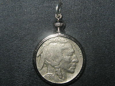 Authentic Southwest Bezel Set 1936 Buffalo Nickel Pendant Coin Charm Necklace