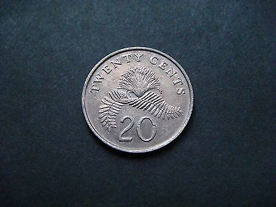 Singapore 20 Cents, 1986 Coin. Powder-Puff Plant