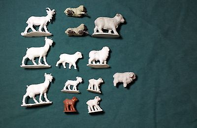 Toy plastic farm White Goats and Sheep