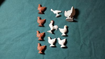 Toy Plastic Farm Rooster, Chicken Turkey Set