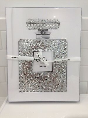 New Acrylic Box Framed Chanel No. 5 Chunky Silver Glitter Pop Art Poster 11X14
