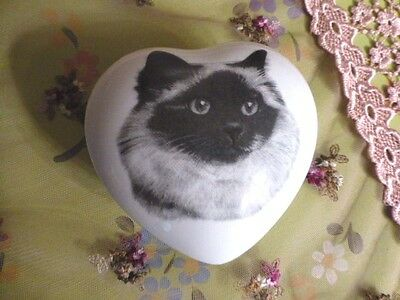 Birman Cat Tonal Grey Image On  Heart Shaped Porcelain Keepsake Box, U.S.A.