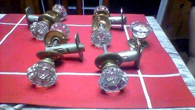 Victorian Style Antique Crystal Door Knobs in Excellent Condition