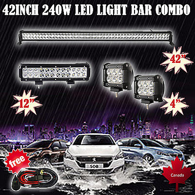 """42inch LED Light Bar + 12"""" + 2X 4"""" CREE Work Boat Offroad SUV ATV Truck Jeep 4WD"""