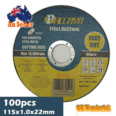 100x Paccaya 115mm INOX STAINLESS STEEL METAL GRINDER CUTTING DISC BLADE DISC