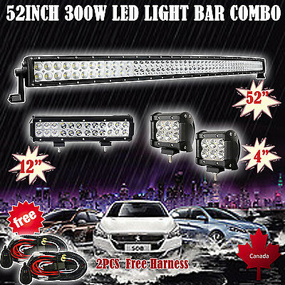"""52Inch Led Light Bar + 12"""" +2X 4"""" Cree Offroad Pods Suv 4Wd Jeep Ford Atv 4X4 50"""