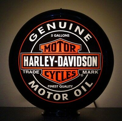Harley Davidson Motor Oil Gas Pump Advertising Globe / Sign