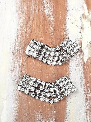 Vintage Shoe Clips Pair Rhinestone retro 50s 60s Accessories Gift Ladies Womens