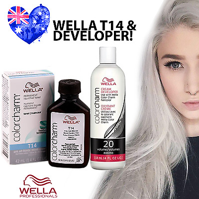 Wella T14 Colour Charm Hair Toner PLUS Developer - T14 Pale Ash Blonde