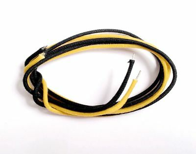 Yellow & Black Cloth Push Back Single-coil Hookup Wire 4 Feet for Guitar Bass