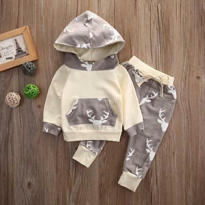 2PCS Newborn Baby Boy Girl Hooded Tops Shirt+Pants Outfit Tracksuit Clothes Set