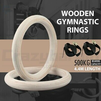 Wooden Gymnastic Olympic Rings Crossfit Pro Straps Gym Fitness Training Exercise