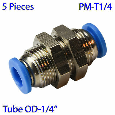 """(5 PCs) Bulkhead Union Connector Tube OD 1/4"""" Quick Release Air Push In Fitting"""