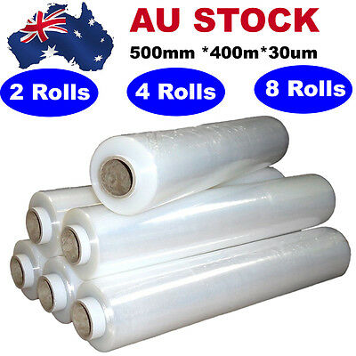 2/4/8 Rolls 500mmx400mx30um Clear Stretch Film Pallet Wrap