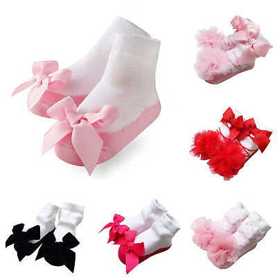 Baby Girls Princess Socks Bow Lace Newborn Infant Frilly Sock Cotton Short Socks