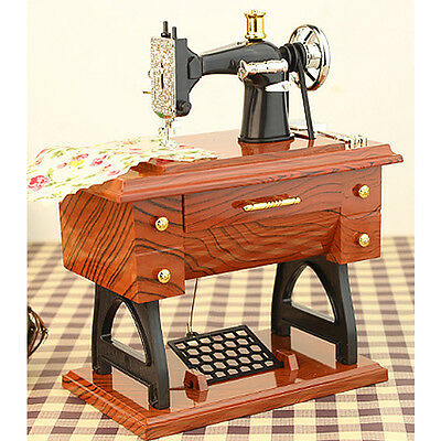 Vintage Creative Mini Sewing Machine Mechanical Music Box Gift Musical Toy Decor