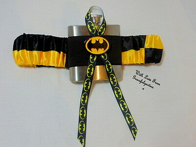 Batman Suicide Squad bridal wedding  hipflask garter.