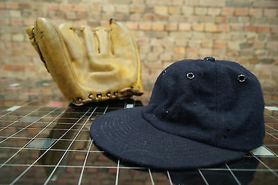 Vintage Baseball Glove + Hat Leather Official League Major League 60s