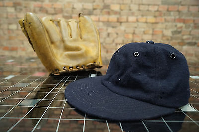 Vintage Baseball Gant + BONNET CUIR OFFICIEL LIGUE MAJOR Ligue années 60