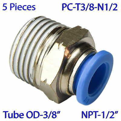 """(5 PCs) Male Straight Connector Air Push In Fitting Tube OD 3/8"""" X NPT 1/2"""""""