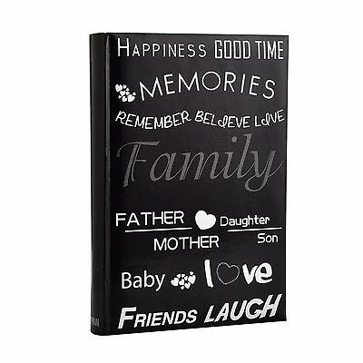 Large Black 6x4 Holds 300 Photos Memories Slip In Memo Photo Album - Text Design