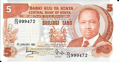 1981 Central Bank of Kenya - 5 Shillings in UNC Condition Pick: 19a Prefix: D
