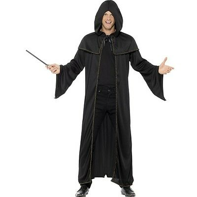 Wizard Cloak Adult Black Magician Robe Cape Unisex Fancy Dress Costume Accessory