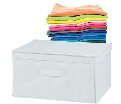 H & L Russell White Storage Box With Lid Medium