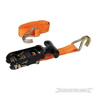 SilverlineRubber-Handled Ratchet Tie Down Strap J-Hook 3m x 30mm 1000kg - 459875