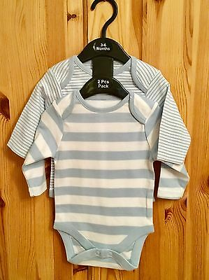 New Baby Boys Exstore Next 2 Pack Long Sleeved Romper Vests Size 3-6 Months