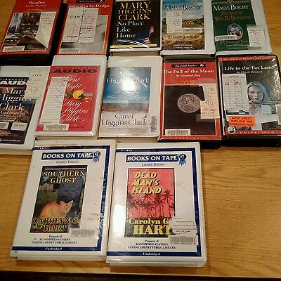 Lot of 12 Fiction Audiobooks on Cassette Tape - Library Discards AB-4