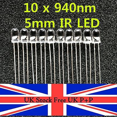 10pcs 5mm High Power Infrared IR LED Wavelength 940nm UK Stock Free UK P+P