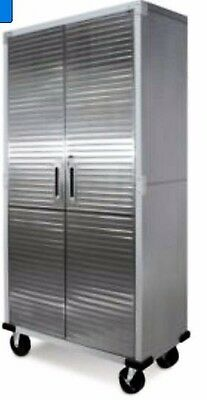 67 Tall Steel Storage Cabinet With Doors And Shelves Silver Black