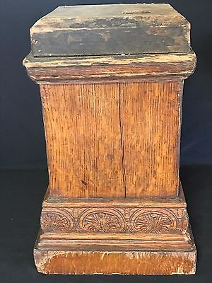 "GORGEOUS Antique Oak & Veneers Pillar Column Newel Post Base 15 lbs 15"" tall (B)"