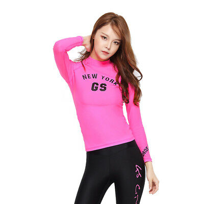 Womens Outdoor Diving Surfing Suit Long Sleeve Quick Dry Stretch Wetsuits Tops