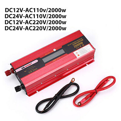2000W Cars Aluminium Alloy Solar Inverter Converter Adapter W/ LCD Display