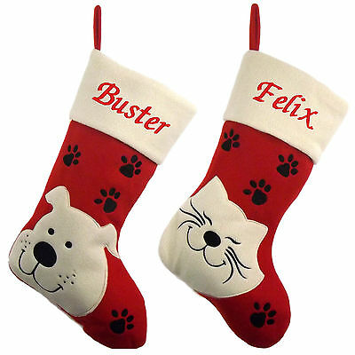 Luxury Deluxe Personalised Embroidered Christmas Stocking Pet, Cat & Dog