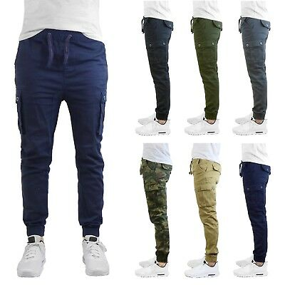 Mens Cargo Jogger Pants Soft Cotton Twill With Stretch Comfort Lounge Active NEW
