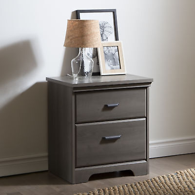 South Shore Furniture Versa 2-Drawer Night Stand, Gray Maple