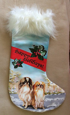 "Christmas Stocking. Japanese Chin Dog. From Orig. Painting. Approx 16"" Tall."