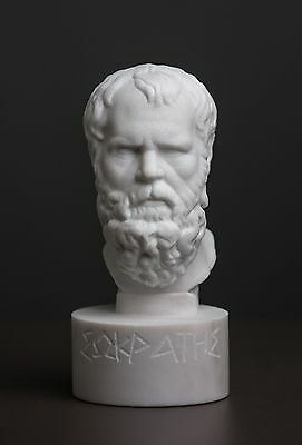 Bust of philosopher Socrates carved Greek MARBLE statue sculpture figurine
