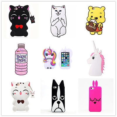 3D Cute Animals Cartoon Soft Silicone Case Cover Back For Apple iPhone Series