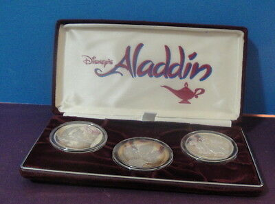 Vintage Disney ALADDIN Set of 3 One Troy Ounce .999 Pure Silver Collectors Coins