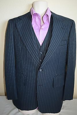 Vtg 60s 70s HOELSCHER'S Navy Pinstripe MOD 3 pc Mens Suit 40 -pants  32x29 vest