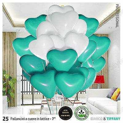 25x Palloncini CUORE Lattice Biodegradabile TIFFANY BIANCO Matrimonio Feste 18cm